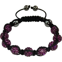 "Magnetisk armbånd ""Shamballa"" Black / Purple"